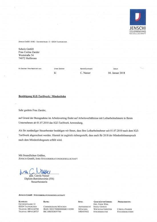 Jensch Bestätigung iGZ Mindestlohn