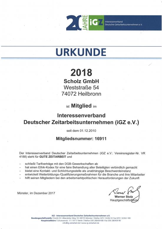 Urkunde iGZ 2018