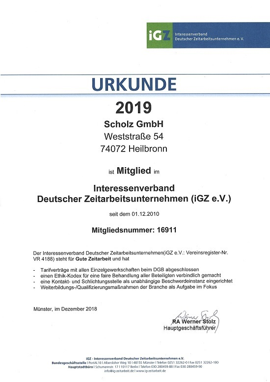 Urkunde iGZ 2019