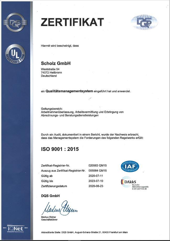 ISO Zertifikat 2020