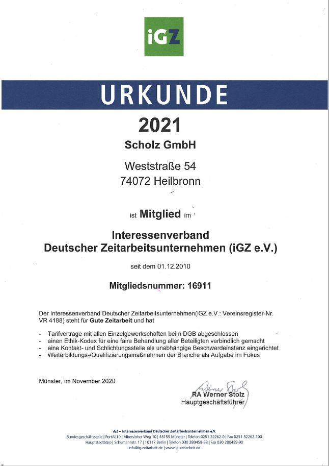Urkunde IGZ 2021