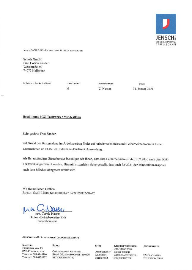 Bestätigung IGZ-Tarifwerk Mindestlohn