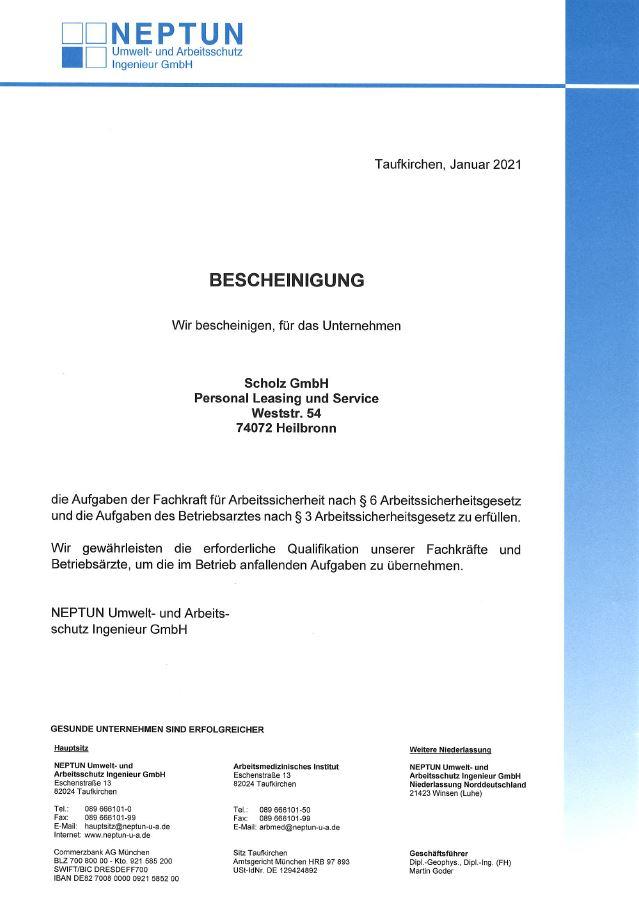 Neptun GmbH Bescheinigung - Arbeitssicherheit 2021